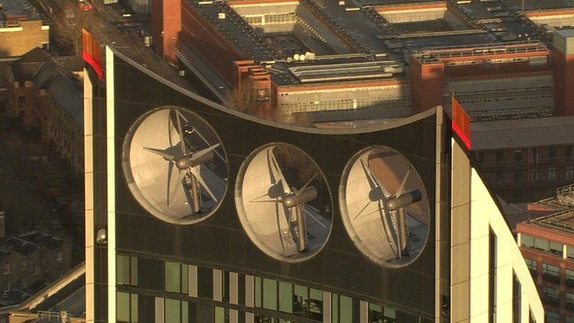 A London building with three wind turbines