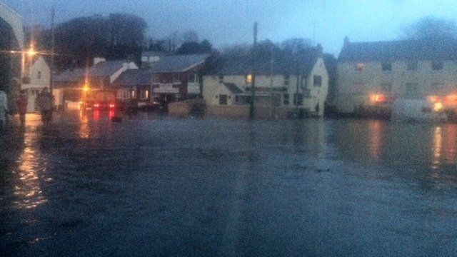 Flood water at High Street, Laugharne, Carmarthenshire