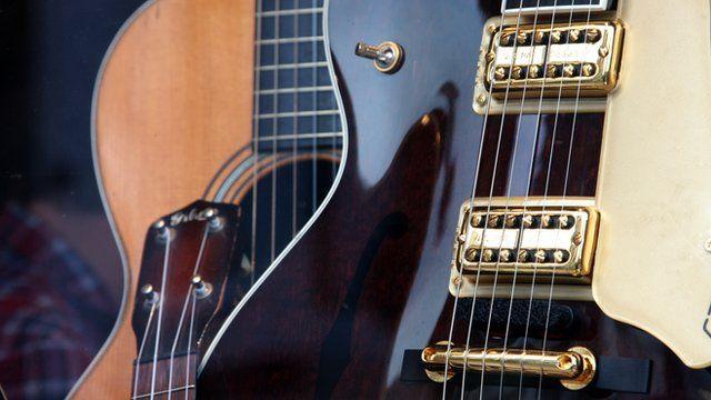 Guitars in a shop window