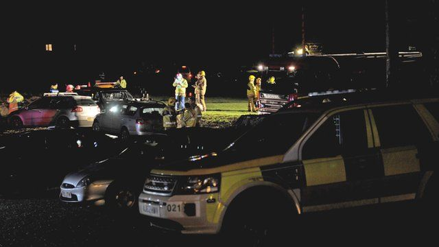 Emergency services at scene of crash in Cley
