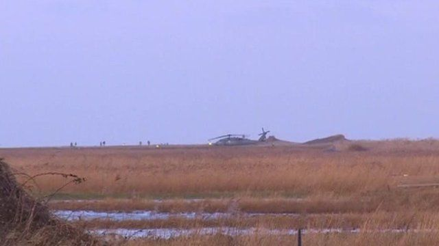 Scene of Cley next the Sea helicopter crash site