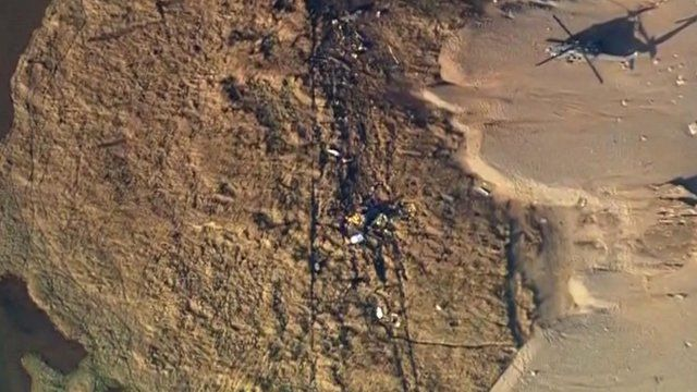Aerial footage of the crash site