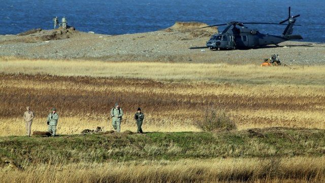 The wreckage of a US Air Force HH-60G Pave Hawk helicopter that crashed during a training exercise, killing four crew members