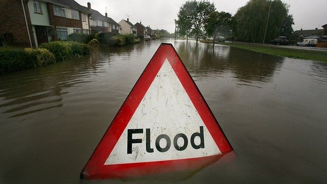 Flood sign in residential street
