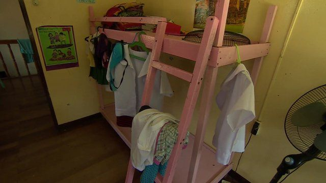A double bunk-bed in a refuge dormitory in Cebu, in the Philippines