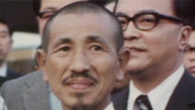 Archive footage showing Hiroo Onoda returning from the Philippines in 1974