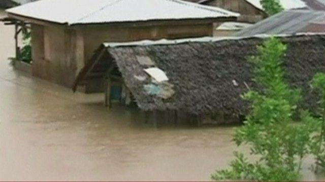 Houses under water in Southern Philippines