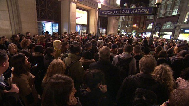 Crowds outside Oxford Circus tube station