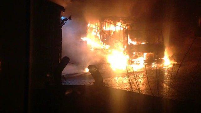 Fire at the Liskeard bus depot