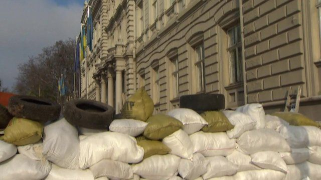 Barricade outside regional administration building in Lviv