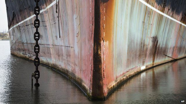Bow of a rusty ship