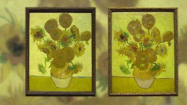 Graphic showing two of Van Gogh's iconic sunflower paintings