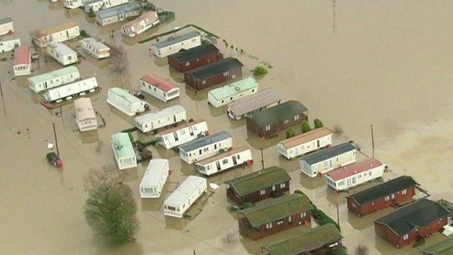 Flooded mobile homes