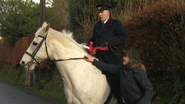 Horseback messenger at Stoke Climsland Post Office
