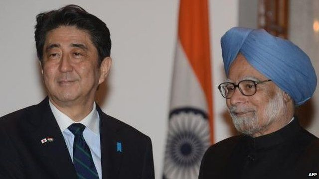 Japanese Prime Minister Shinzo Abe and Indian Prime Minister Manmohan Singh