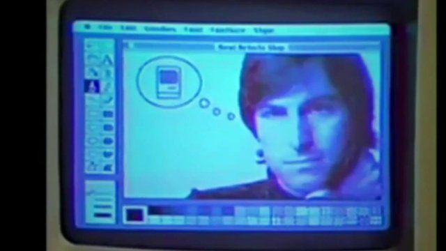 Computer screen showing Steve Jobs