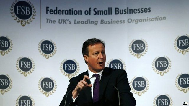 David Cameron making speech to the Federation of Small Business