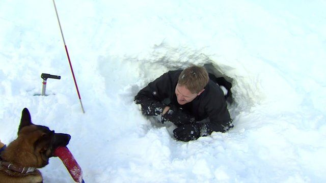 The BBC's Christian Fraser takes part in an Avalanche rescue drill
