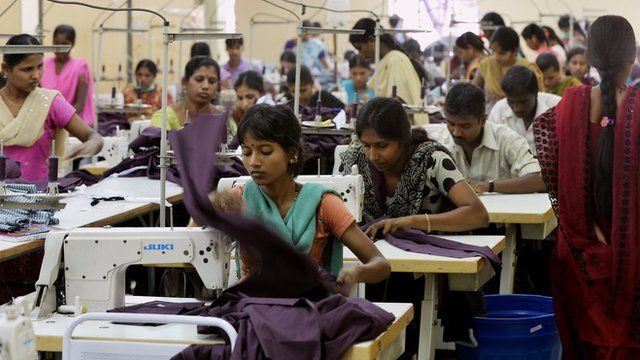 Indian workers of a private garment factory