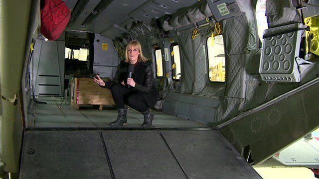 Stephanie McGovern inside a Merlin helicopter