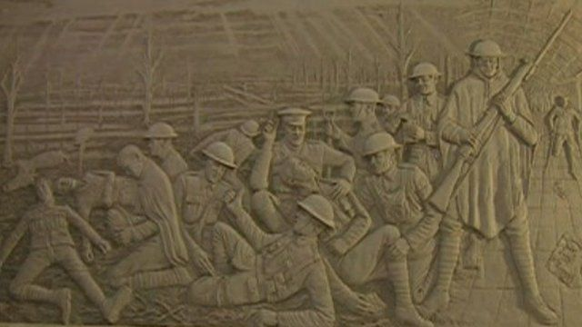The sculpture of first memorial to the Liverpool Pals