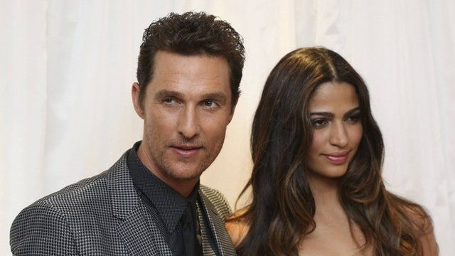 Matthew McConaughey and his wife Camilla Alves at the London premiere of Dallas Buyers Club