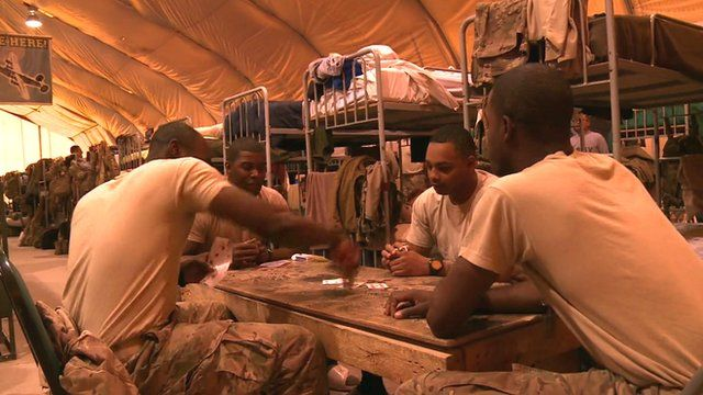US troops play cards