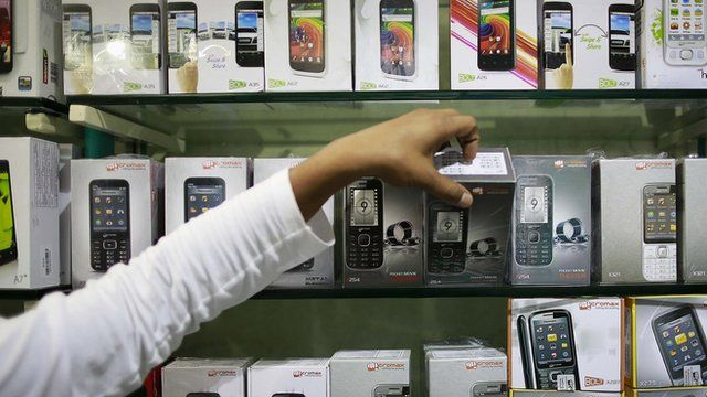 Mobile phones on a shop shelf