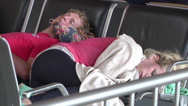 People sleeping in airport