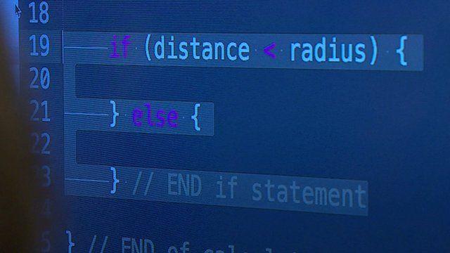 Screen of code