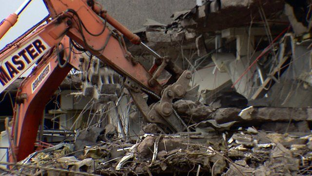 Demolition of meat processing plant