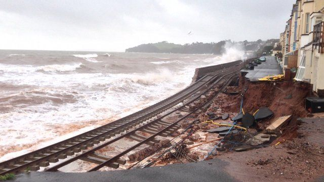 Damaged railway line at Dawlish in Devon