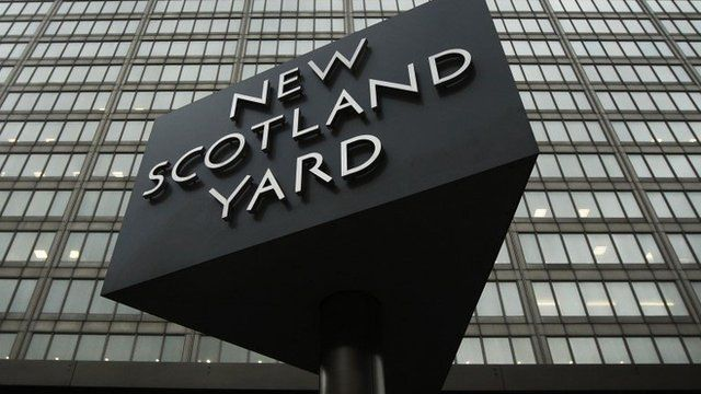 The New Scotland Yard sign outside the building