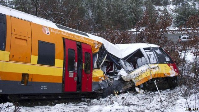 Derailed train in French Alps