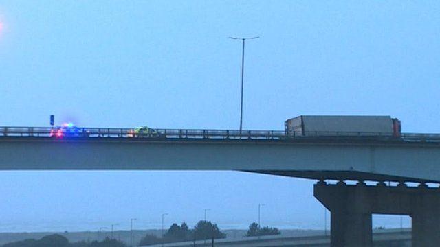 overturned lorry on Briton Ferry Bridge