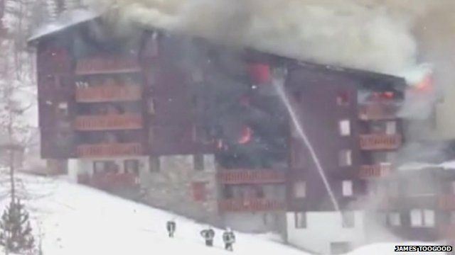 Chalet on fire in Val d'Isere