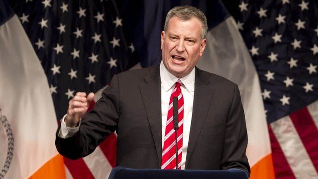 """Mayor Bill de Blasio called the income gap """"a threat to every New Yorker"""" in a 10 February speech"""