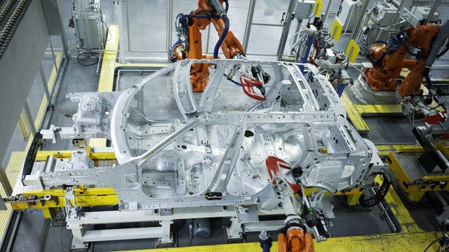 Aluminium Range Rover chassis on the production line