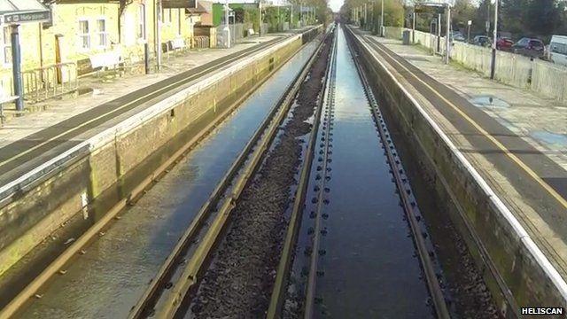 Flooded Winsdor to London train line