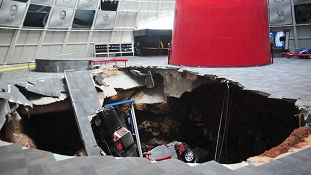 Several cars collapsed into a sinkhole in the National Corvette museum in Bowling Green, Kentucky, on 12 February 2014