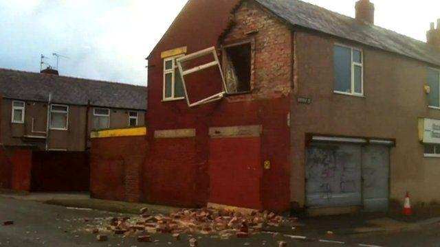 Wind-damaged building, Barrow