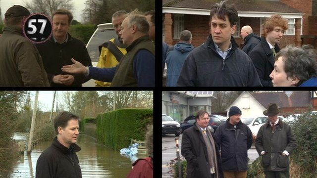 Politicians in flood scenes