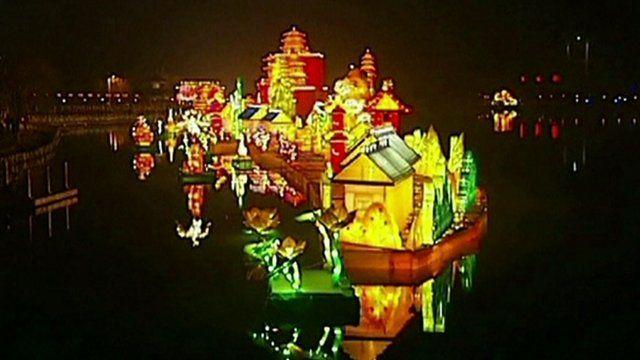 Lanterns on a river