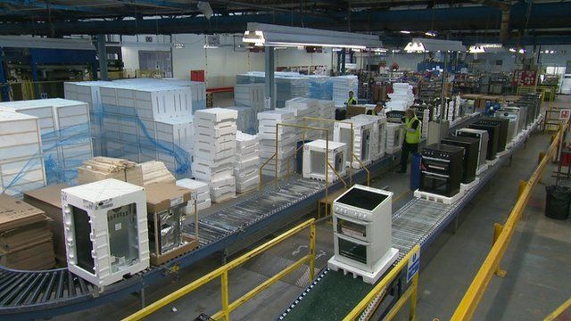 An assembly line making ovens