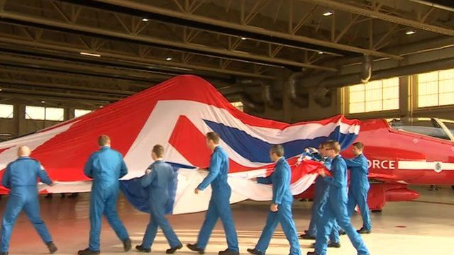 The tailfin being unveiled at RAF Scampton in Lincolnshire