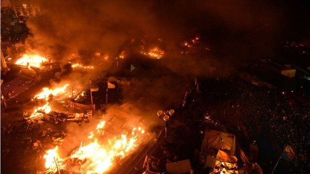 Independence Square on fire in Kiev