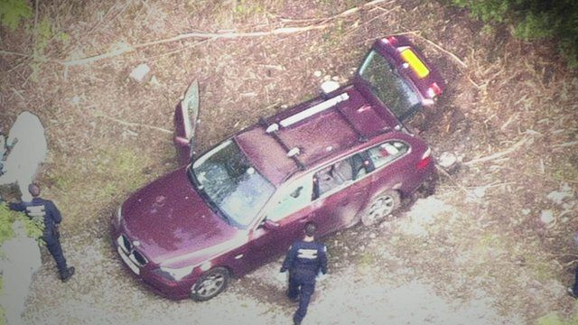 Aerial view of crime scene