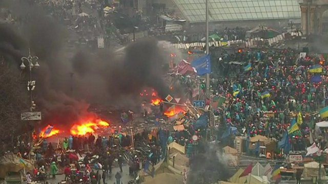 Fires in Independence Square