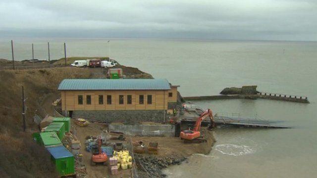 Work on lifeboat station in Porthdinllaen, Gwynedd