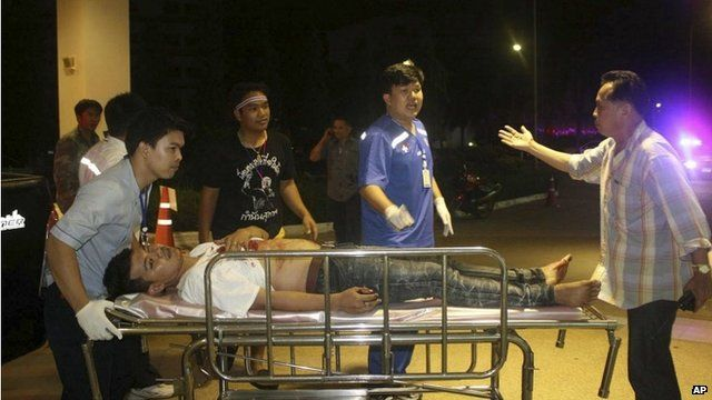 An injured protester arrives for treatment at a hospital